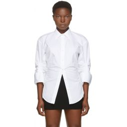 White Oversized Cinched Shirt