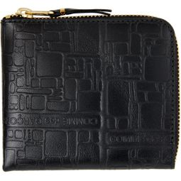 Black Embossed Logo Half-Zip Wallet