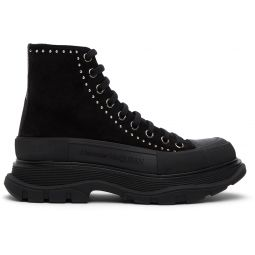 SSENSE Exclusive Black Suede Stud Tread Slick Platform Boots