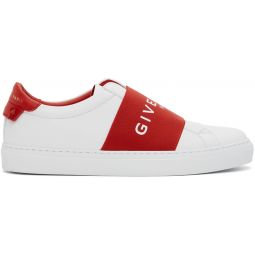 White & Red Elastic Urban Knots Sneakers