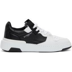 White & Black Asymmetric Wing Low Sneakers