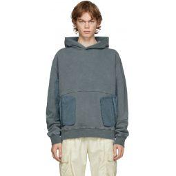 Grey Cold-Dye Panelled Hoodie