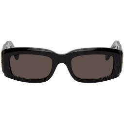 Black BB Plaque Square Sunglasses