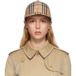 Beige Heavy Cotton Check Trucker Hat