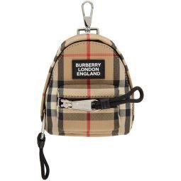 Beige Vintage Check Backpack Keychain