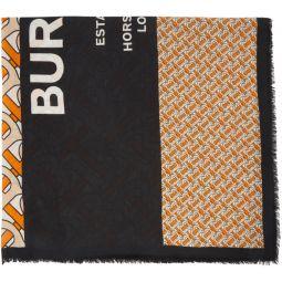 Orange & Black Large Monogram Scarf