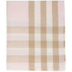 Pink & Brown Check Lightweight Cashmere Scarf