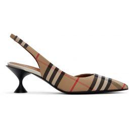 Beige Vintage Check Slingback Heels
