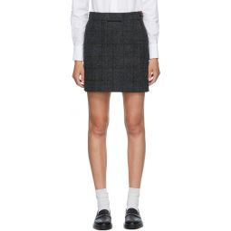 Grey Wool Check Miniskirt