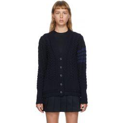Navy Wool Aran Knit 4-Bar Cardigan