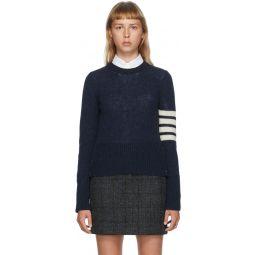 Navy Shetland Wool 4-Bar Sweater