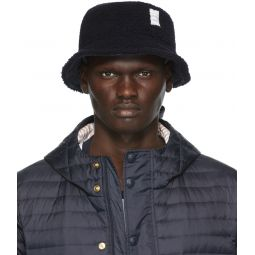 Navy Shearling Bucket Hat