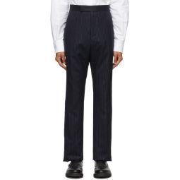 Navy Super 120s Chalk Stripe Trousers
