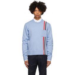 Blue Merino Intarsia Stripe Sweater