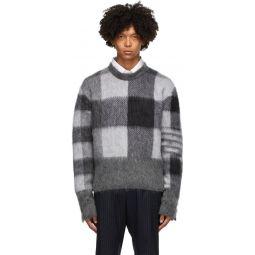 Grey & Black Fun Mix Buffalo Check Sweater
