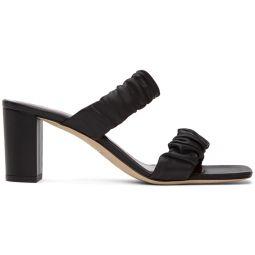 Black Nappa Frankie Ruched Heeled Sandals