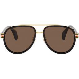 Black & Gold Aviator Sunglasses