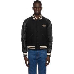 Black Felt & Leather Bomber Jacket