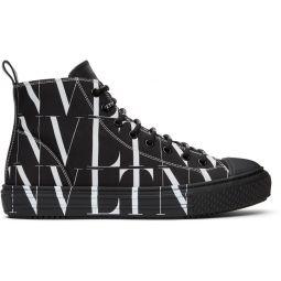 Black & White Valentino Garavani 'VLTN' High-Top Sneakers