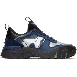 Black & Blue Valentino Garavani Camo Rockrunner Sneakers