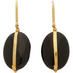 Gold & Black Stone Earrings