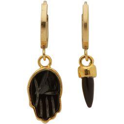 Gold & Black Hand Earrings