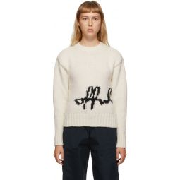 White Intarsia Logo Sweater