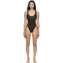 Black 'Forever Fendi' Core One-Piece Swimsuit