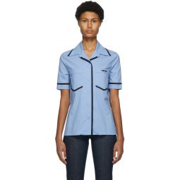 Blue Eco Popeline Short Sleeve Shirt