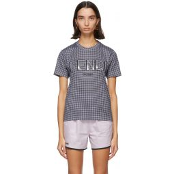 Grey & Navy Gingham Logo T-Shirt