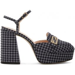 Grey Check Promenade Heeled Loafers
