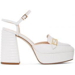 White Croc Promenade Heeled Loafers