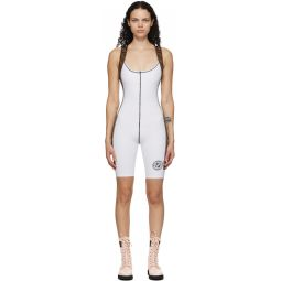 White Stretch 'Forever Fendi' Fitness Bodysuit