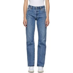 Blue High-Rise Loose Jeans