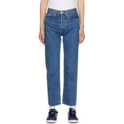 Blue High-Rise Stove Pipe Jeans