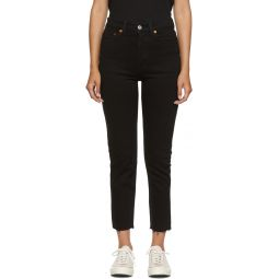 Black High-Rise Ankle Crop Jeans