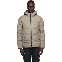 Taupe Down Hooded Jacket