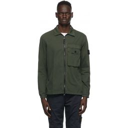 Green Brushed Canvas Zip-Up Overshirt