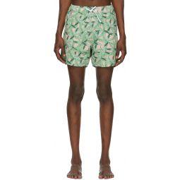 Green & Pink Banana Leaves Swim Shorts