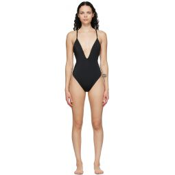 Reversible Brown & Black 'Forever Fendi' One-Piece Swimsuit