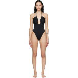 Black 'Forever Fendi' Plunge One-Piece Swimsuit