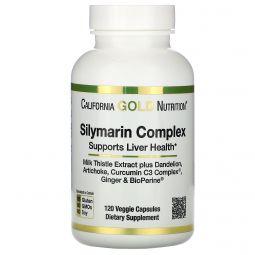 California Gold Nutrition, Silymarin Complex, Liver Health, Milk Thistle, Curcumin, Artichoke, Dandelion, Ginger, Black Pepper, 300 mg, 120 Veggie Caps
