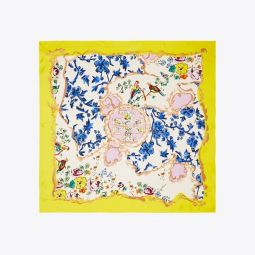 Mixed-Floral Silk Square Scarf