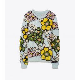 Floral Intarsia Pullover