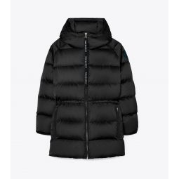 Hooded Performance Satin Down Jacket