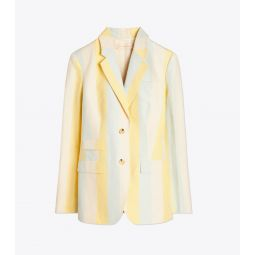 Striped Silk Linen Blazer