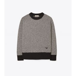 Two-Tone Oversized Crewneck Sweater