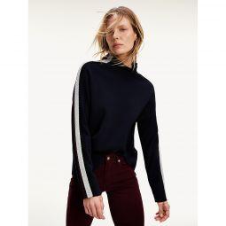 Side Stripe Mockneck Sweater