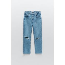 SLIM FIT HI-RISE RIPPED JEANS TRF