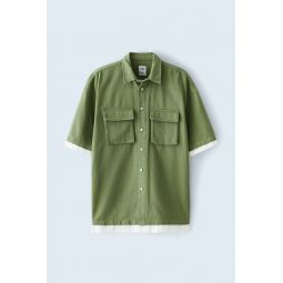 TEXTURED WEAVE SHIRT WITH CONTRASTING HEM